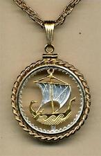 "Cyprus 5 Mils Silver & Gold Plated 18"" (cut out Ship) Coin Necklace"