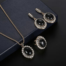Women Rhinestone Faux Gem Charm Ring Necklace Earrings Style Jewelry Set Sweet