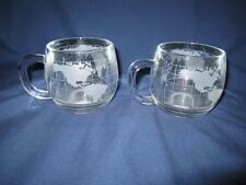 2 Vintage The Nestle Co., Inc. World Map Frosted Clear Glass Coffee/Tea Mug Cup
