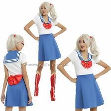 Sailor Moon Blue & White Fit & Flare Skater Costume Cosplay Dress Red Heart Bow