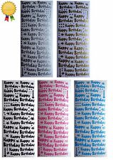 HAPPY BIRTHDAY Peel Off Stickers Candles Card Making Silver Gold Blue Pink Black