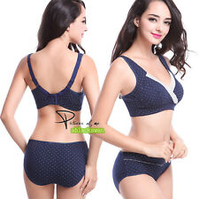 Dotted Wirefree Maternity Nursing Bra Women + Briefs Set 32 34 36 38 Cup BCD 002