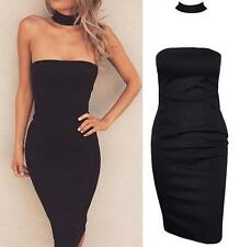 Black Strapless Choker Collar Tight Fitted Bodycon Sheath Midi Dress Sexy NWT
