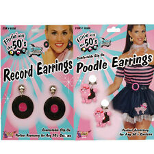 1950s Themed Fancy Dress Earrings Record Poodle Sandy Pink Ladies Grease