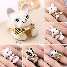 3Pcs/set Women Fashion Gold Plated Animal Dog Rabbit Cat Open Midi Rings Jewelry