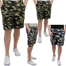 Mens Camouflage Cargo Casual Shorts Combat Army Work Cropped Cotton Pants Summer