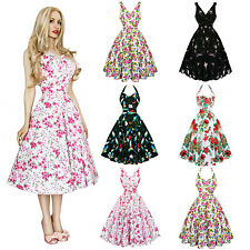 Womens Ladies New Unique 1950s Retro Vintage Flared Swing Party Tea Dress UK