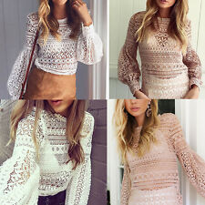 Womens Lady Tops T-Shirt Sexy Lace Splice Shirt Blouse Hollow Out Shirt Tops