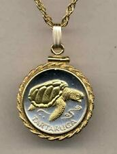 """Cape Verde 1 Escudos Silver and 24 k Gold Plated """"Sea Turtle"""" Coin Necklace"""