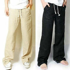 Fashion New Mens Casual Loose Drawstring Waist Solid Linen Trousers Beach Pants_