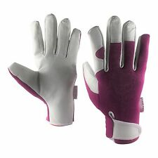 Ladies Leather Garden Gloves - Work Gloves - Gardening Gloves for Women - Purple