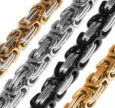 King's chain Necklace Bracelet Set Curb chain Stainless steel gold silver black