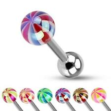 Unisex Tongue Piercing Length 0 5/8in Surgical Steel Lollipop Candy Ball