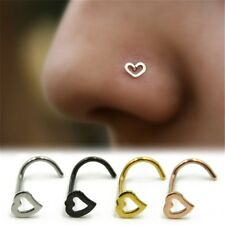 1 Pcs Fashion Surgical Steel Small Thin love Screw Nose Stud Ring Body Piercing