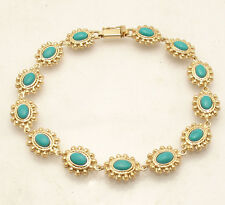 Cute Sleeping Beauty Turquoise Gemstone Tennis Bracelet Real 14K Yellow Gold QVC