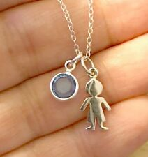 925 Sterling Silver BOY Cut Out Little Boy Charm Birthstone Chain Necklace