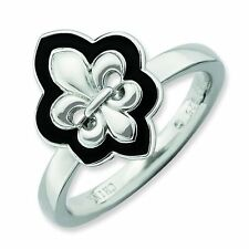 Large Black Enamel Fleur-De-Lis Sterling Silver Stackable Ring