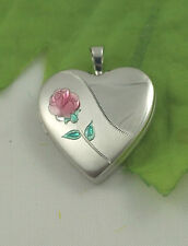 Sassi SL1018 Medium 925 Sterling Silver Engraved Enamel Rose Heart Shape Locket