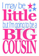 I may be little but I'm going to be a BIG cousin - IRON ON T-shirt TRANSFER new