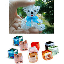 Spacer Beads DIY Cube Glass Square Crystal Faceted Loose 10Pcs 4mm/6mm