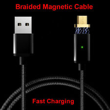 Black 2.4A Magnetic Micro USB Charging Cable Charger Cord for Android Samsung S7