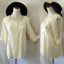 NEW IVORY Crochet BOHO Embroidered PEASANT Mexican Hippie FESTIVAL Indie TOP