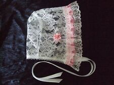 BABY BONNET WHITE LACE WITH PINK SPOT SATIN FRILL & BOW - CHRISTENING BAPTISM
