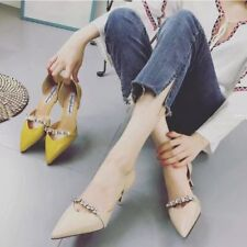 Womens Pointed Toe Shallow Mouth Slip on Stiletto Shoes High Heels Party Sandals
