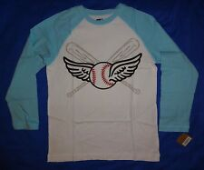 NWT Crazy 8 LONG SLEEVE blue/white BASEBALL w/wings fly ball shirt BOYS L 10-12