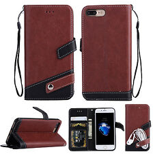 Luxury PU Leather Flip Stand Wallet Card Slots Case Cover For iPhone Samsung