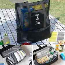 Handheld Lunch Bag Insulated Cooler Picnic Mesh Beach Tote Food Drink Storage