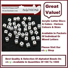 100 WHITE CUBE - Acrylic Single Letter A-Z White Cube Alphabet Beads 6mm