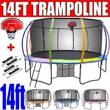 14ft NEW Round Trampoline FREE Basketball Set+Safety Net+Spring Pad Cover+Ladder
