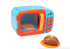 Just Like Home Kids Microwave Oven- Play Pretend Kitchen -Toy Food cooking- Blue