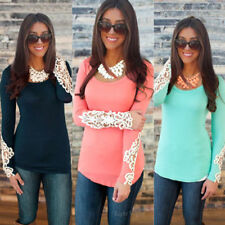 Fashion Women Long Sleeve Lace Round Collar Summer Casual T-Shirt Tops Blouse ED