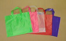 12x10x4 Frosted Plastic Loop-handle Shopping Party Gift Tote Bag Assorted Colors