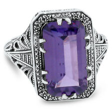 8 Ct COLOR CHANGING SIM ALEXANDRITE ANTIQUE DESIGN 925 STERLING SILVER RING, #71