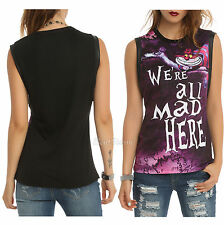 """NEW ALICE IN WONDERLAND CHESHIRE CAT """"WE'RE ALL MAD HERE"""" MUSCLE TANK TOP JRS."""