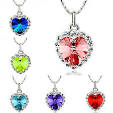 Women Jewelry Crystal Pendant Chain Rhinestone Heart of Ocean Charm Necklace NEW