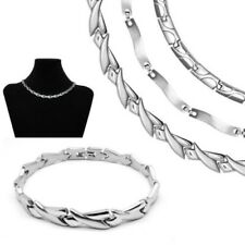 A Set Stainless Steel Collier and Bracelet Chain Necklace Silver Matt Shiny