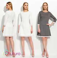 Ladies Semi-Formal 3/4 Sleeve Classic Crew Neck Cocktail Sheath Dress FA503