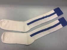 Pearsox Athletic All In One Knee High Stirrup Socks - White/Royal Blue