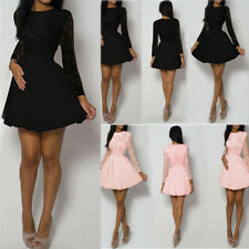 O-Neck Lace Long Sleeve Mini Dress Sexy Womens Evening Cocktail Party Club Dress