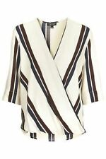 Topshop Ivory Stripe Silky Wrapover Blouse Top Ladies NEW
