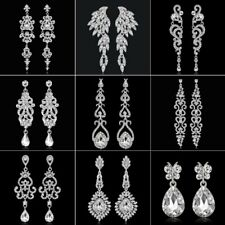 18K White Gold GP Crystal Drop/Dangle Ear Earrings Stud Wedding Bridal Jewelry