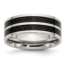 Chisel Stainless Steel 8mm Double Row Black Carbon Fiber Inlay Polished Band Rin