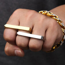 Womens Mens Punk Hip Hop Double Fingers Rings Large Midi Ring Bague Jewelry New