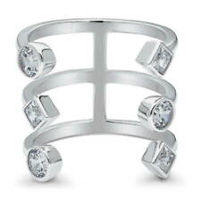BERRICLE Sterling Silver Cubic Zirconia CZ Open Bar Fashion Statement Ring
