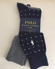 Polo Ralph Lauren Men's Socks Two Pairs Navy Blue and Solid Gray