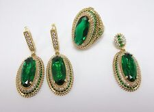 STERLING 925 SILVER HANDMADE JEWELRY MARQUISE CUT EMERALD GEM FULL SETS